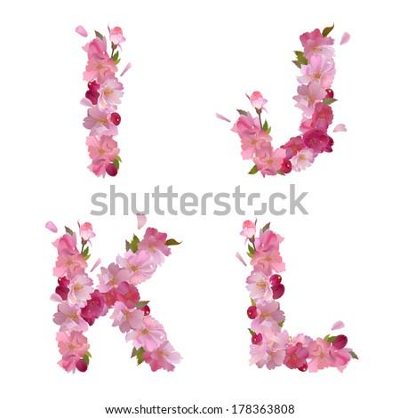 Vector Spring Alphabet Gentle Pink Sakura Stock Vector