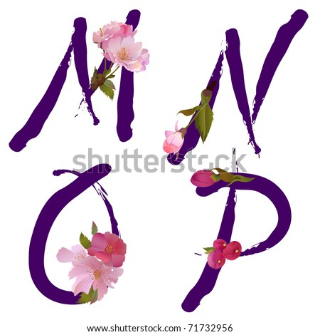 Vector spring alphabet with gentle sakura flowers letters M,N,O,P - stock vector