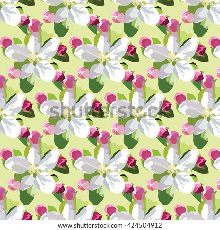Vector Spring Apple or Cherry flowers blossom pattern. Beautiful natural blooming flower illustration. Watercolor realistic technique - stock vector