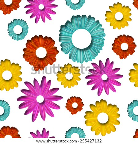 Vector Spring background. Flower illustration in cut paper seamless pattern. - stock vector