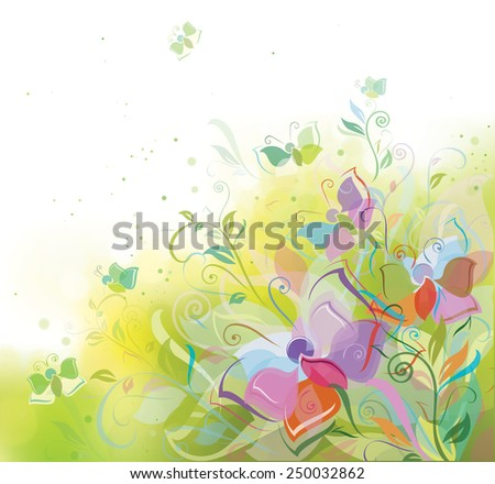 Vector spring background, plants and butterflies.
