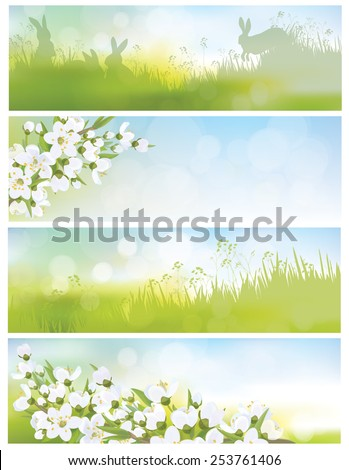 Vector spring banners, blossoming tree branch, nature backgrounds. - stock vector
