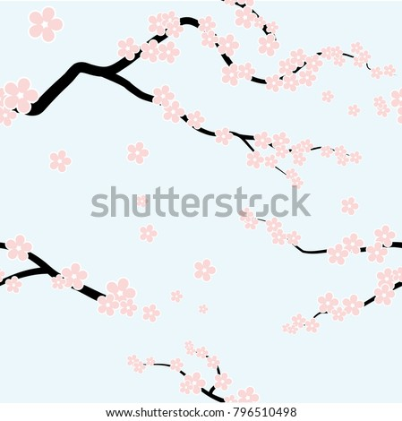 Vector Spring blossom seamless background