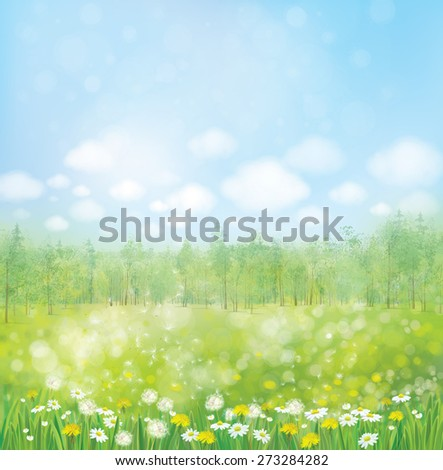 Vector spring blossoming meadow with forest background. - stock vector