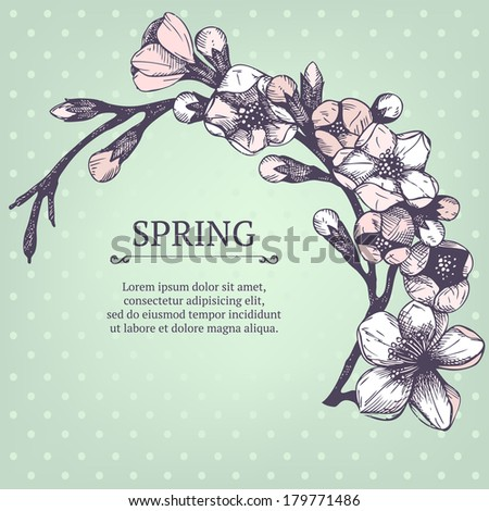 Vector spring design for your card or invitation with hand drawn blooming fruit tree twig illustration on mint background - stock vector