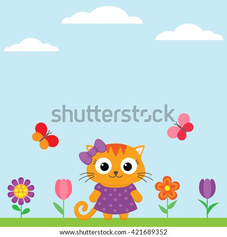 Vector spring flower background with flowers and butterflies - stock vector