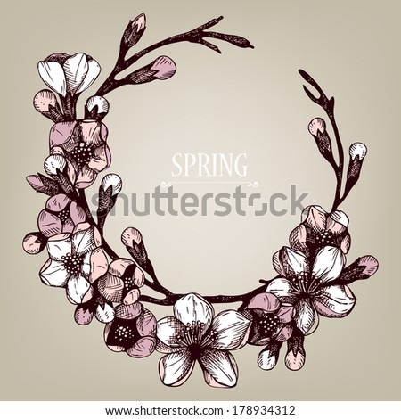 Vector spring frame for your card or invitation with hand drawn blooming fruit tree twig illustration. - stock vector