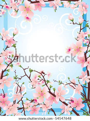 vector spring frame of blossoming cherry tree brunches in the blue sky - stock vector