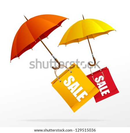 Vector spring sale labels with umbrellas - stock vector