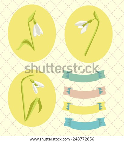 Vector Spring Snowdrops Card Elements Isolated Set - stock vector