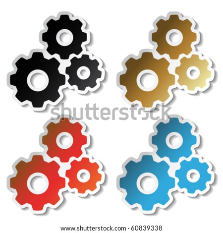 Vector sprocket stickers - stock vector