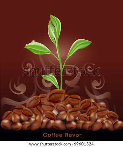 Vector sprout grows from a pile of coffee on a brown background - stock vector