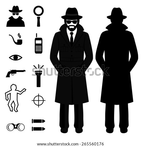 vector spy icon, detective cartoon man, crime illustration - stock vector
