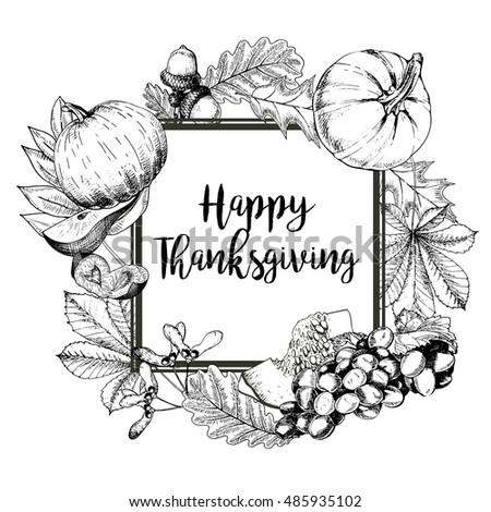 Vector Square Border Greeting Card For Thanksgiving Pumpkin Pear Plum Grape
