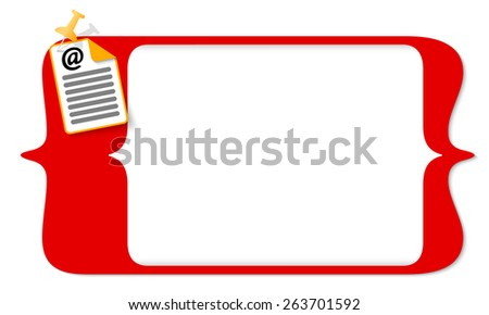 vector square brackets for entering text and document icon and email symbol - stock vector