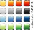 vector square buttons with silver frame - stock vector