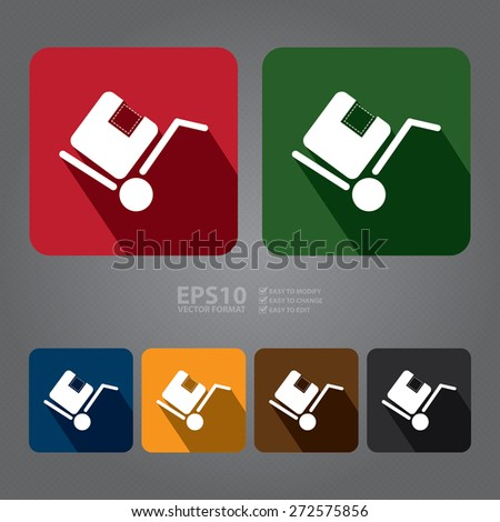 Vector : Square Delivery or Shipping Long Shadow Style Icon, Label, Sticker, Sign or Banner - stock vector