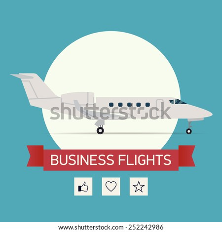 Vector square flat design web banner template on business flights with business jet plane standing on white circle round background with sample title ribbon and social media network icons added - stock vector