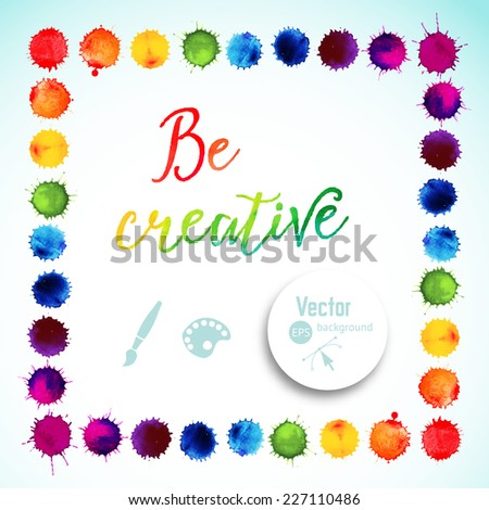Vector square frame made of watercolor rainbow blobs, colorful paint drops texture. Vector illustration, stain of watercolors. Paints composition - stock vector