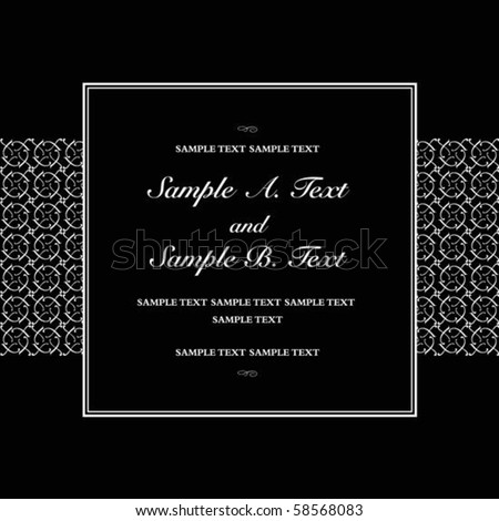 Vector square frame with sample text. Perfect as invitation or announcement. All pieces are separate. Easy to change colors. - stock vector