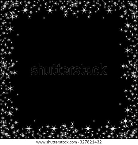 Vector square frame with white stars on the black background, sparkles golden symbols  - star glitter, stellar flare