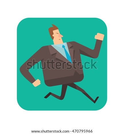 Vector square green frame with cartoon image of a square businessman with brown hair in a black suit running somewhere in the center on a white background. Geometric businessman.