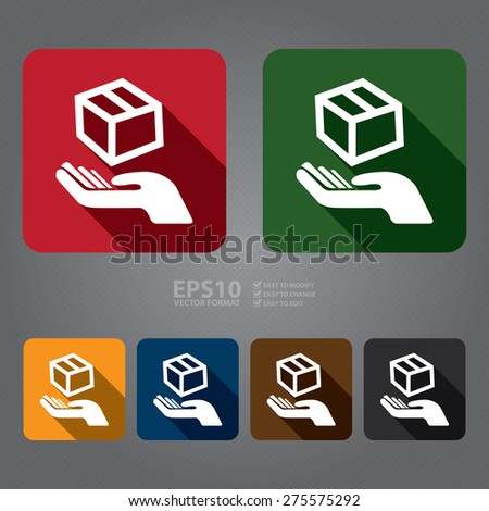 Vector : Square Hand With Box, Handle With Care, Do Not Drop Flat Long Shadow Style Icon, Label, Sticker, Sign or Banner - stock vector