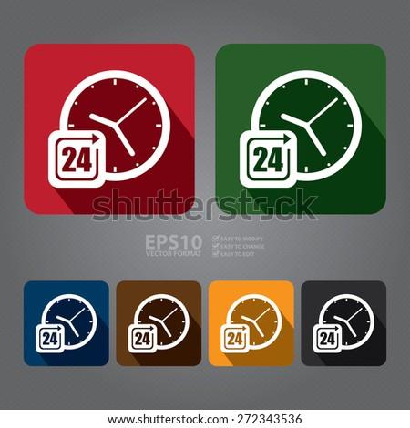 Vector : Square 24 Hours Service, Open 24 Hours Long Shadow Style Icon, Label, Sticker, Sign or Banner - stock vector