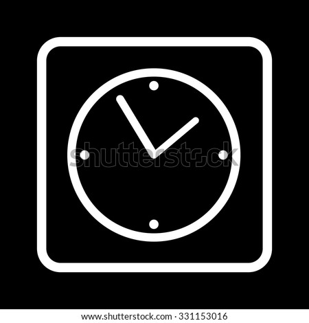 Vector square icon with a sign in white clock face on a black background - stock vector