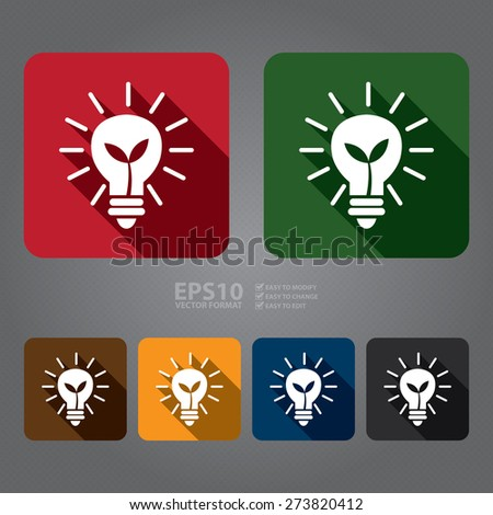 Vector : Square Light Bulb With Tree Long Shadow Style Icon, Label, Sticker, Sign or Banner - stock vector