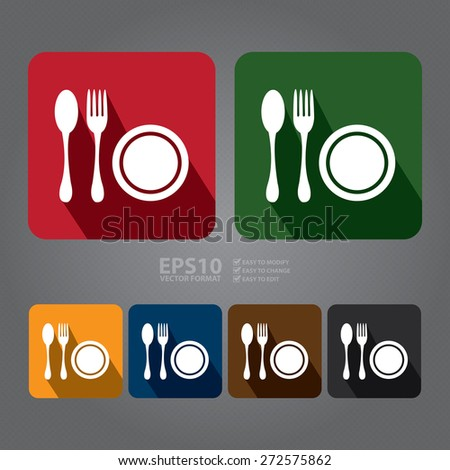 Vector : Square Restaurant, Bistro, Cafeteria or Food Center Long Shadow Style Icon, Label, Sticker, Sign or Banner - stock vector