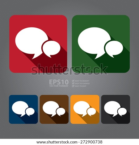 Vector square speech bubble long shadow style icon label sticker sign or