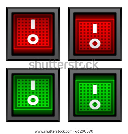 vector square toggle power switches - stock vector