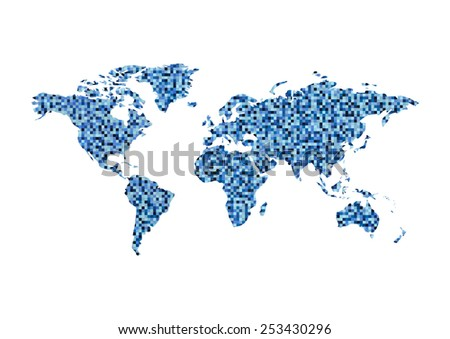 vector square world map, mosaic style - stock vector