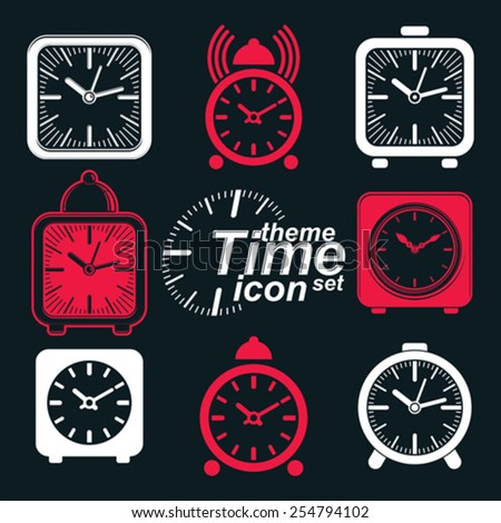Vector squared 3d alarm clocks with clock bell, decorative wake up conceptual icons collection. Graphic design elements. get up theme. Waiter ringing invert symbols. - stock vector