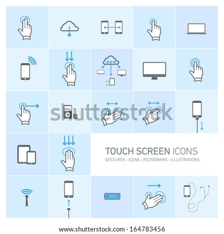 Vector squares illustration with icons, typography and pictograms of hands, fingers, phones, tablets and other touch screen devices | ready to place your content - stock vector