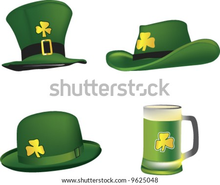 vector st. patrick hats and beer mug