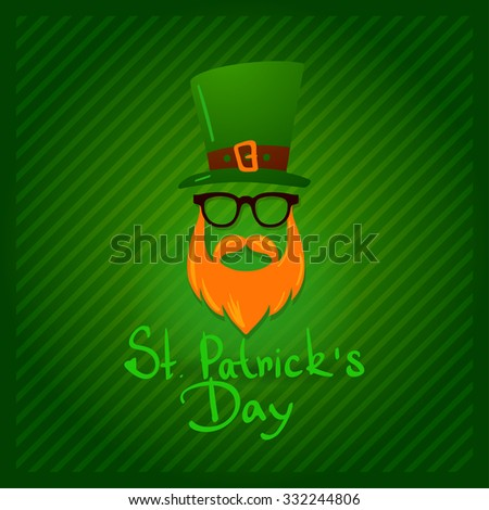 vector St. Patrick's Day character leprechaun with green hat Irish man - stock vector