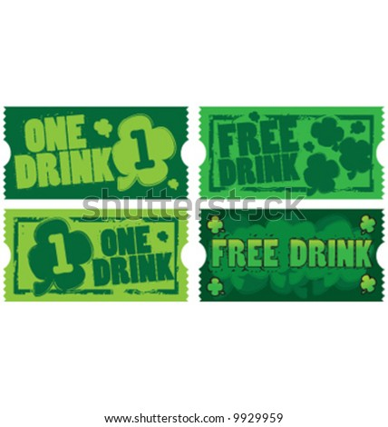 Vector St. Patrick's Day drink tickets