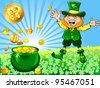 Vector St. Patrick's Day happy leprechaun dancing with a pot of gold coins on a meadow of clover at sunrise - stock vector