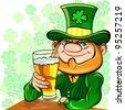 Vector St. Patrick's Day happy leprechaun drinks beer - stock vector