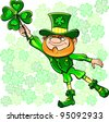 Vector St. Patrick's Day happy leprechaun on the fly leaf clover - stock vector