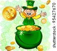Vector St. Patrick's Day happy leprechaun with a pot full of gold money coin - stock vector