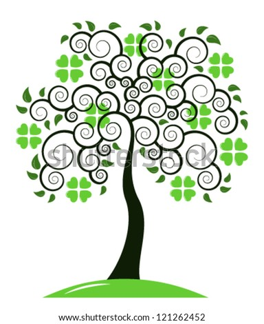 vector St. Patrick's Day tree isolated on white background