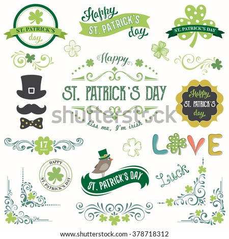 Vector St. Patricks Day set with vintage ornate motifs and typographic design elements. - stock vector