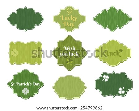 vector st patricks day vintage labels and badges set - stock vector