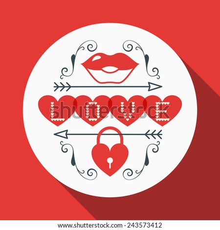 Vector St. Valentine's day greeting card in flat style. Typography elements with lips and heart shaped lock