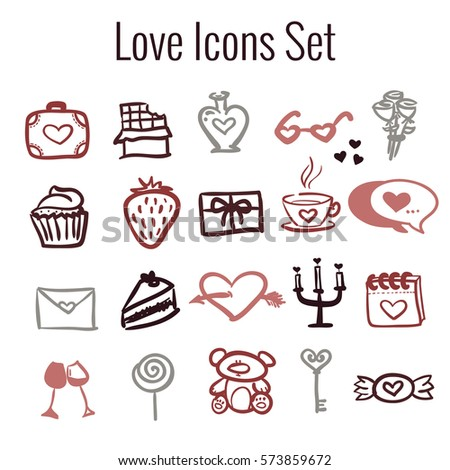 Vector St Valentine's Day icon set. Colored hand drawn icons collection on love theme.