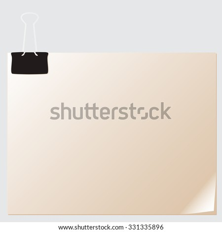 Vector stack of paper attached with a paper clip - stock vector