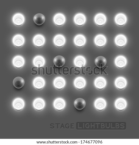 Vector stage light bulbs.Vector illustration. - stock vector